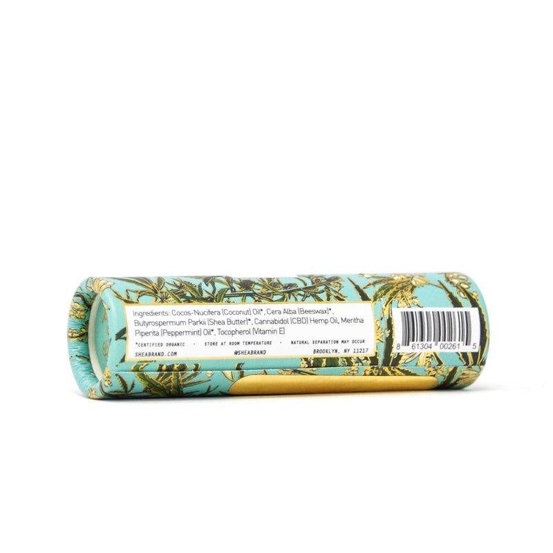 Shea Brand CBD Restorative Lip Balm side view by Svn Space.