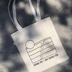 Lex Weinstein Single Fin, Not Single Use Hemp and Cotton Tote bag front view by Svn Space.