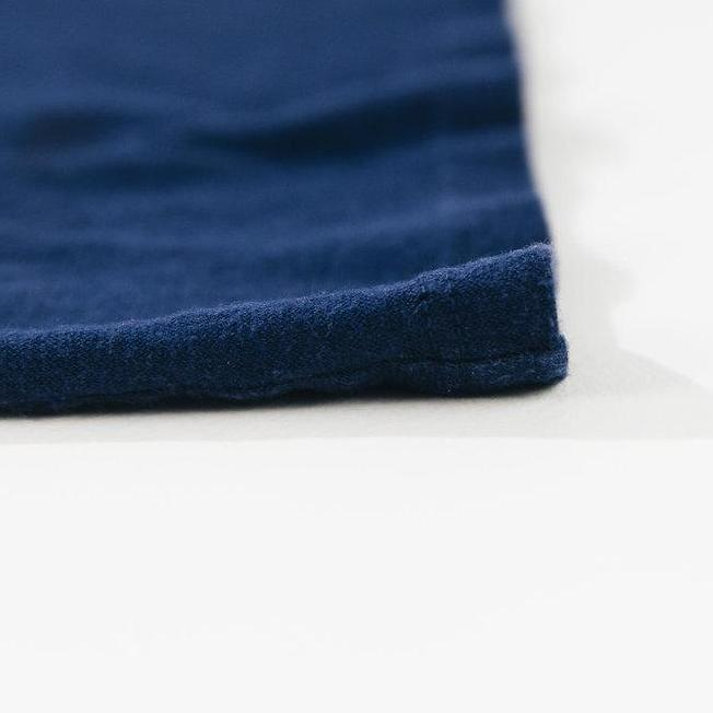 Close up of fabric on I Heart Hemp T-shirt in blue closeup of shirt material by Svn Space