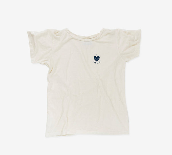 I Heart Hemp T-shirt in white front view by Svn Space