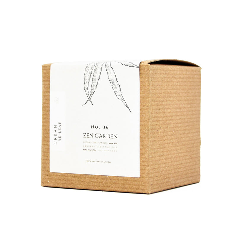 Urban Re-Leaf Zen Garden Coconut Wax Votive Candles with Cannabis Essential Oil front box view by Svn Space.