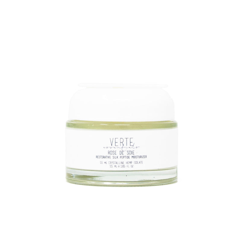 Verte Essentials Rose De Soie Moisturizer with 35mg CBD front view by Svn Space.