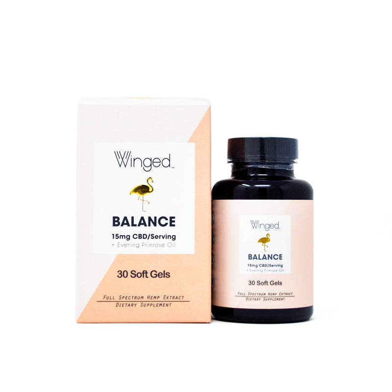 Winged Balance 15mg CBD Soft Gels front view by Svn Space.