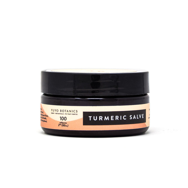 Yuyo Botanics Turmeric Hemp Salve with 100mg CBD front view by Svn Space.