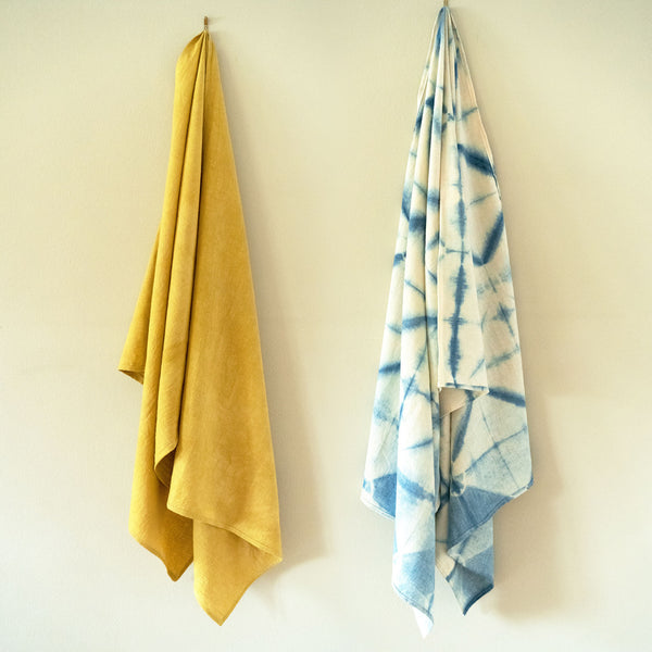 Natural Plant Dyed Hemp Shawl hung side by side by Svn Space.