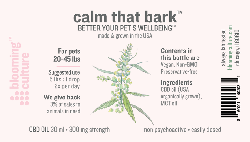 Blooming Culture Calm That Bark with 300mg CBD full label by Svn Space.