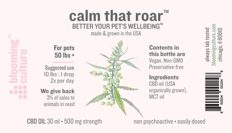 Blooming Culture Calm That Roar with 500mg CBD full label by Svn Space.
