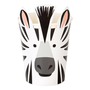 Zebra party cups for a jungle themed party.