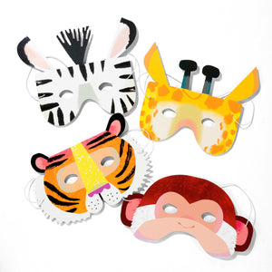 Four Jungle animal party masks. Zebra, tiger, giraffe and monkey.