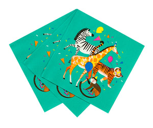 Turquoise napkins with jungle animal design including a zebra, giraffe, tiger and monkey.