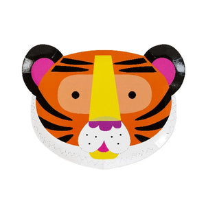Tiger paper party plates for a jungle themed party.