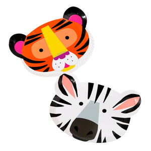 Tiger and zebra party plates for a jungle themed party.