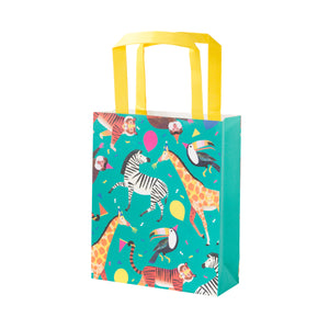 Jungle animal themed party bags. The party bag is decorated with an animal themed pattern on a turquoise background and a yellow handbag.