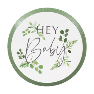 Baby shower hey baby white plates with botanical leaf design.