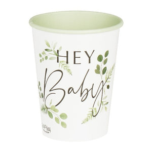 Hey baby white party cups with botanical leaf design.