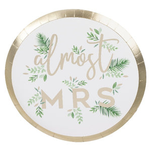 Almost mrs botanical plates with gold foil detail in a pack of 8