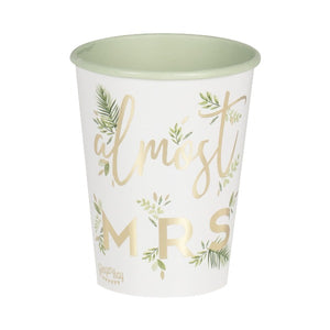 almost mrs botanical cups in a set of 8 with gold foil writing on a white background