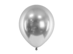 Metallic glossy silver latex balloon