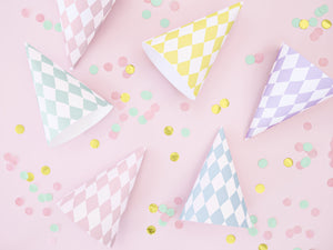 La di dah London checked pink, yellow and blue patterned party hats. Children's party hats for boys and girls.
