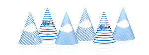 party hats in light blue with white clouds and a mix with stipes in white and blue with vintage aeroplane illustration for for aeroplane themed birthday party for girls and boys party or birthday parties from la di dah