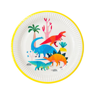 Dinosaur themed party plates with different types of dinosaurs.