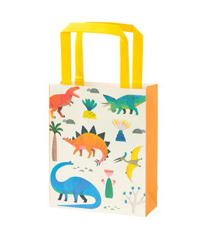Party bag with multi coloured dinosaur pattern and yellow handle.