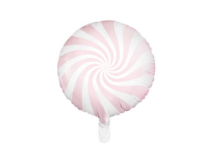 La di dah London pale pink and white swirl effect foil helium balloon. Pastel party decoration.