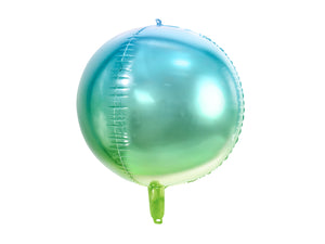 round green and blue ombre helium balloons for mermaid themed birthday party for girls and boys party or birthday parties from la di dah