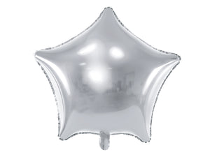 Silver star foil balloon.