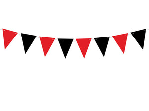 red and black triangle bunting for Pirate themed birthday party for girls and boys party or birthday parties from la di dah