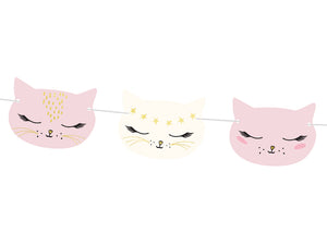 Children's party decorations for girls and boys. Pink, white and black cat shaped garland or bunting.