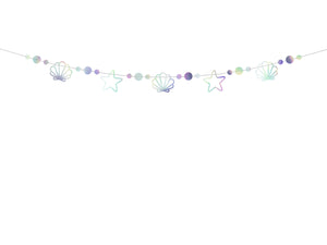 mermaid themed party, iridescent shell garland girls and boys birthday party by la di dah London