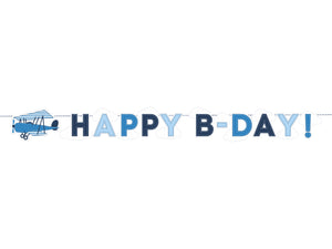 Happy b day banner with letters in shades of light and dark blue with an aeroplane motif cut out in blue for aeroplane themed birthday party for girls and boys party or birthday parties from la di dah
