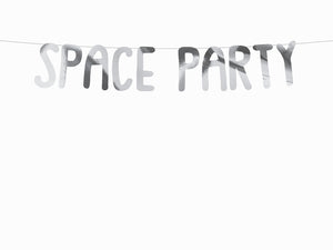 Silver space party garland.