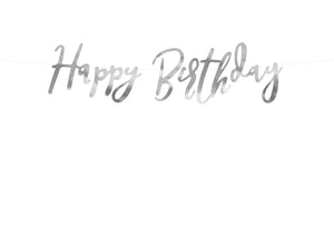 silver happy birthday writing banner from la di dah london for birthday parties and party
