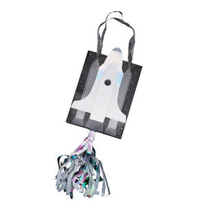 Black white and silver space paper party bags with rocket design and hanging silver tassel