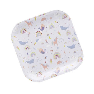 Square unicorn and rainbow themed paper party plate.