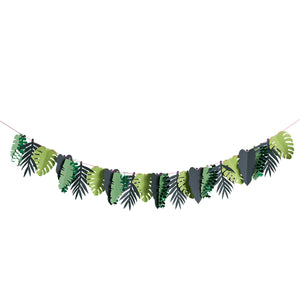 Green leaf garland for decorating a jungle themed party.
