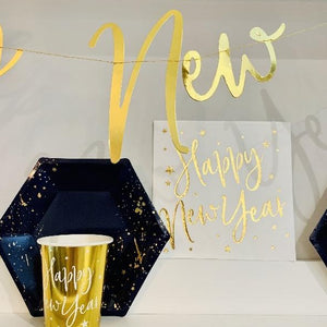 Gold & Navy New Year Plate & Cup Set