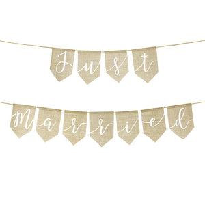 Neutral burlap  just married wedding banner in white printed writting