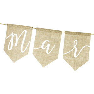 burlap wedding sign just married in white print