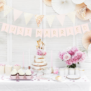 Pink blush just married wedding banner in gold foil writing