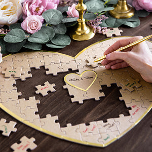 neutral kraft paper puzzle guest book with gold trim, 85 pieces for each guest to write there name on