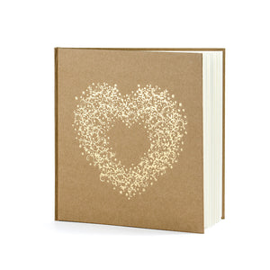 wedding guest book with gold foil heart print on brown kraft paper bound book with white pages to write in