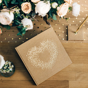 kraft brown paper guest book with gold foil inlay heart shaped flora pattern bound book with white pages