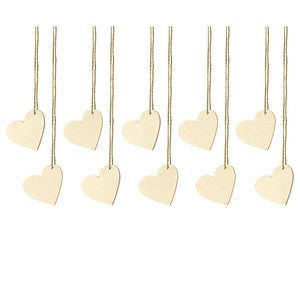 set of 10 wooden heart shaped wedding place cards
