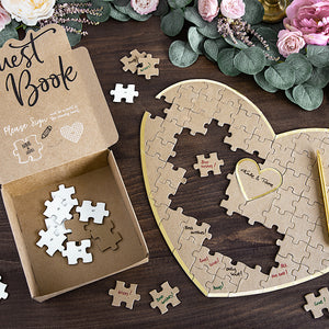 85 kraft brown paper puzzle heart shaped guest book with gold trim detail, perfect keepsake for your wedding day