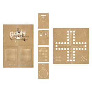 Children's wedding activity pack includes four book with various games on brown kraft paper with white print