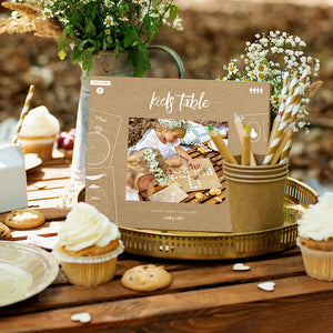 Keep children entertained during the wedding with this games activity pack in neutral kraft paper and white print. 4 books included with various games such as tic tac toe, maze and battle ships to name a few