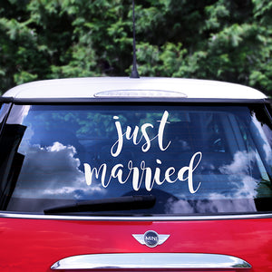 Just married wedding day car sticker in white